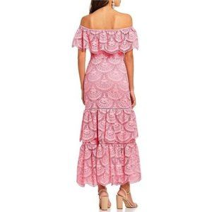 New Gianni Bini Laney Tier Pink Lace Maxi Dress